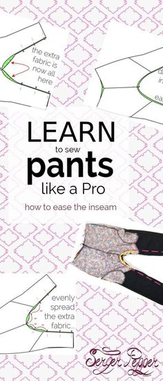 """Wondering what """"easing a seam"""" means? Need help learning how to sew pants? Learn how to sew a perfect inseam every time with the pin-easing technique (linking to the crimping and ease stitching techniques too). Only on http://SergerPepper.com"""