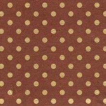 Papier népalais fantaisie, fond marron impression de pois dorés