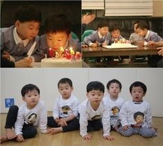 "The Song Triplets (Dae Han, Min Guk, and Man Se) and Lee Twins (Seo Eon and Seo Jun) enjoy a special joint birthday party on ""Superman Returns."""