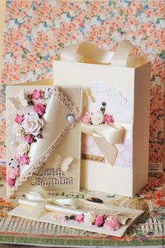 Купить Подарок на свадьбу (открытка конверт для денег пакет) свадебный набор - фуксия, бежевый