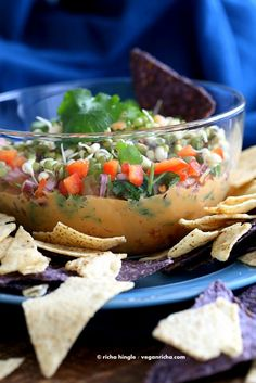 Thai Layered Dip with Peanut sauce, mint, cilantro, carrots, Salsa+ sriracha, sprouts | Vegan Richa