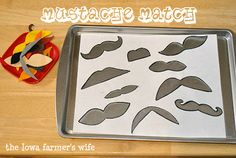 Mustache Match game, Guest post by The Iowa Farmer's Wife at No Time for Flash Cards