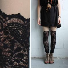Lace Leggings - Black Lace - Psych Out Faux Thigh High - LAST PAIR. $69.00, via Etsy.