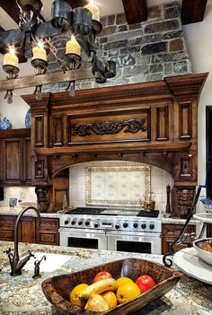 English Manor - Although this may look like a quaint cottage in the woods, this home is just over and sits right outside The Woodlands, Texas. A mix between stone and wood gives it a homey yet modern feel. Country Kitchen, New Kitchen, Kitchen Decor, Kitchen Ideas, Kitchen Designs, Kitchen Bars, Kitchen Hoods, Stone Kitchen, Kitchen Corner