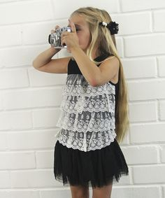 Take a look at this Black & White Lace Ruffle Dress - Toddler & Girls on zulily today!