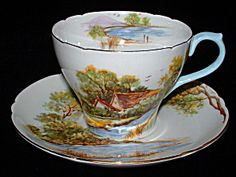 Shelley England Cup And Saucer Old Mill New Cambridge