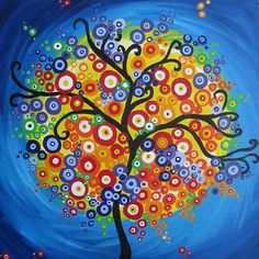 Items similar to tree painting on canvas purple blue colourful colorful fantasy wall decor decoration painting original tree of life art on Etsy - Wedding Colors Tree Of Life Painting, Tree Of Life Art, Large Painting, Dot Painting, Bright Abstract Art, Bright Art, Tree Wall Art, Tree Art, Kandinsky