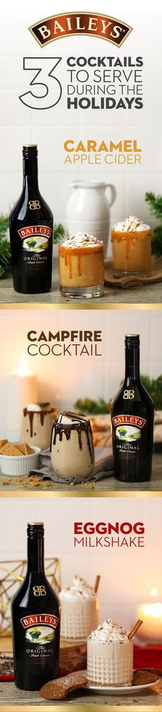 These easy recipes make for perfect holiday cocktails. 1. Warm ½ cup apple cider, 1tsp cinnamon, a pinch of nutmeg, ginger & ground cloves. Add 2oz Baileys. 2. Rim a glass with chocolate & dip in graham cracker crumbs. Mix 1oz vodka, 2oz Baileys & ice in a shaker. Pour in 1 glass, fill the rest with milk, top with a toasted marshmallow. 3. Mix 3 cups vanilla ice cream, ½ cup eggnog, ½ cup Baileys, 1tsp cinnamon until smooth. Pour into 3 glasses, top with whipped cream & crushed gingersnaps.