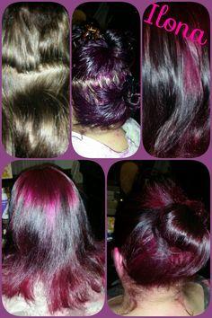 Van nutraal bruin naar paars haar.