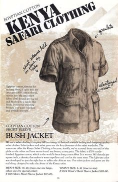 This gallery was made possible by former Banana Republic staff artist Kevin Sarkki who generously scanned his personal archive. The original Banana Republic… Safari Shirt, Safari Jacket, Original Banana, Vintage Safari, Safari Outfits, British Colonial, Outdoor Outfit, Kenya, Banana Republic