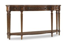 Crafted from hardwood solids and cherry veneers the Three Drawer Thin Console features three drawers and one shelf.
