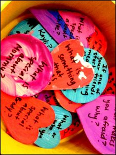 """What a fantastic tradition... dinner """"conversation hearts"""" to keep up great conversation and learn more and more about your kids and partner."""