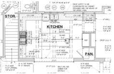 Antique distressed island and hood. Design with less handles and drawer p. Kitchen Layout Plans, Kitchen Floor Plans, Kitchen Ideas, Closed Kitchen, Construction Documents, Love Home, Architecture Plan, Kitchen And Bath, Kitchen Design