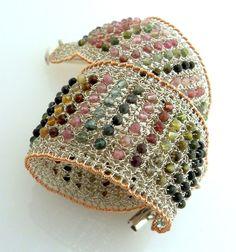 Knit Jewelry: Drops of Rainbow, Bracelet, silver, rose gold #knitting #jewelry #cuff