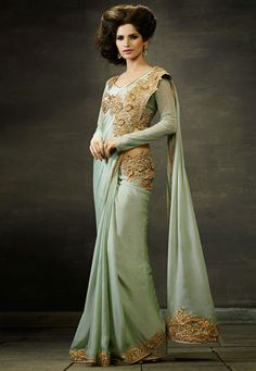 Light Pastel Green Faux Crepe Saree with Blouse