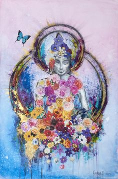 Buddha & The Butterfly . Mixed Media Collage Art, Giclee Print Beautiful Buddha & The Butterfly Printed to order from original mixed Media Collage Various sizes a Buddha Kunst, Art Buddha, Buddha Painting, Art Du Collage, Collage Art Mixed Media, Wall Collage, Wall Art, Yoga Kunst, Yoga Art
