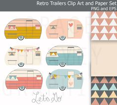 Retro Trailer Camper Clip Art EPS Geometric by GraceHarveyGraphics