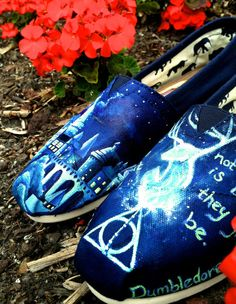 Made to Order Custom Painted TOMS Harry Potter Shoes... this lady does amazing work!