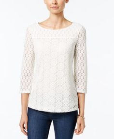 Charter Club Boat-Neck Lace Top, Only at Macy's