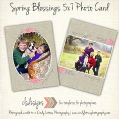 Simple Spring Blessings Photo Card Template by caseysnyderdesigns, $8.00  photos by Cindy Lottes Photography