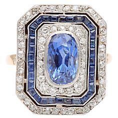 Sapphire Diamond Cluster Ring, circa 1920's.