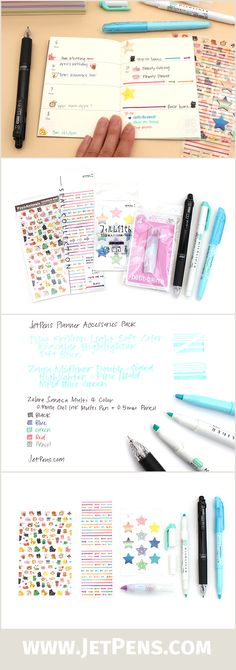 Organize your life in style with our JetPens Planner Accessories Pack! It contains a multi pen for color-coded tasks, two highlighters for important dates, a mini correction pen in case plans change, and a selection of cute stickers for decoration.