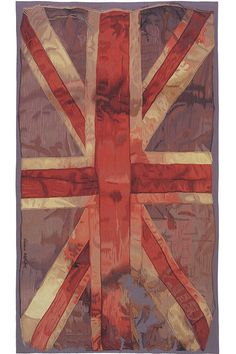 The iconic 'VW Flag' motif was first provocatively modeled as a bridal stole in the Autumn/Winter 'Anglophilia' collection. The raggedy worn-out and possibly blood-soaked original flag is precisely reproduced in very fine hand woven wool tapestry, w Union Jack Rug, Devine Design, Aubusson Rugs, Union Flags, Luxury Loft, Uk Flag, Rug Company, Punk, Queen