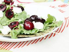 Raw Pizza with Rosemary Cashew Cheese, Arugula, and Balsamic Marinated Cherries Recipe on Yummly
