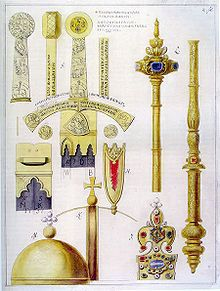 Polish Crown Jewels Detailed drawing by Krzysztof Józef Werner of parts of the crown jewels such as the sword Szczerbiec, Crown of Bolesław I the Brave, royal sceptre and orb (before Royal Crowns, Royal Jewels, Crown Jewels, Oldenburg, European History, Ancient History, Transformers, Poland History, Germany And Prussia