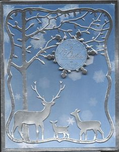 Hand made card with memory box orchard tree frame and memory box deer trio die cuts