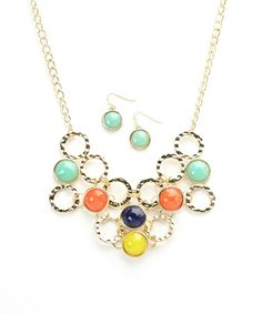 Love this Mint & Orange Linked Circles Bib Necklace & Earring Set by Ethel & Myrtle on #zulily! #zulilyfinds