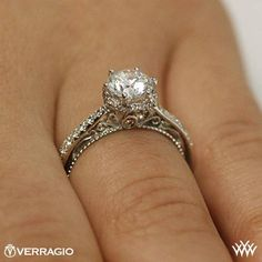This Diamond Engagement Ring is from the Verragio Venetian Collection. It features 0.30ctw of Round Brilliant Diamond melee to enhance a round diamond center.  Select your diamond from our extensive <a href='http://www.whiteflash.com/loose-diamonds/search.aspx'><u><b>online diamond inventory</b></u></a>. Please allow 4 weeks for completion. Platinum carries a 5 week turnaround time. If you have any questions regarding this item then please contact one of our friendly diamond and jewelry ...