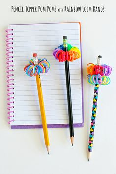 Pencil Topper Pom Poms with Rainbow Loom Bands to Make