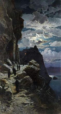 "Hermann David Salomon Corrodi (Italian, ""Monaci in cammino verso il monte Athos/Walk of the monks to Mount Athos"" Oil on canvas, 232 × 130 cm Private collection Grazie Arnold Böcklin e gli Artisti del Sublime Moonlight Painting, The Monks, Art Academy, Art Abstrait, Nocturne, Moon Art, Berg, Michelangelo, Oeuvre D'art"