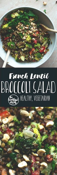 French Lentil Broccoli Salad - mint, parsley, marjoram, toasted hazelnuts, lentils, shallot, and a whole lot of veggies. So delicious! http://thehealthfulideas.com/french-lentil-broccoli-salad/