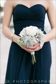 Bridesmaid bouquet - dusty miller, garden roses, babysbreath. Navy bridesmaids dress.