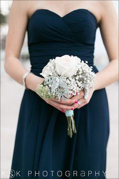 Bridesmaid bouquet - dusty miller, garden roses, babysbreath. Navy bridesmaids dress.