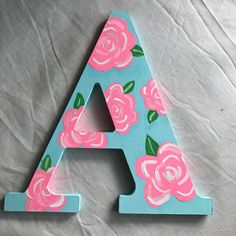 Lilly Pulitzer Inspired Wooden Letters by MadWatts on Etsy Wood Letters Decorated, Painted Initials, Painting Wooden Letters, Cardboard Letters, Diy Letters, Letter A Crafts, Painted Letters, Letter Art, Toddler Girls