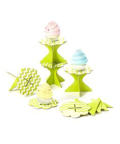 Another great find on #zulily! Lime Zigzag Cupcake Stand - Set of Six #zulilyfinds