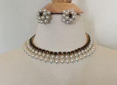 Vintage 50s Pearl Fringe & Onyx Rhinestone Necklace Earrings Set by GlamEpoque on Etsy