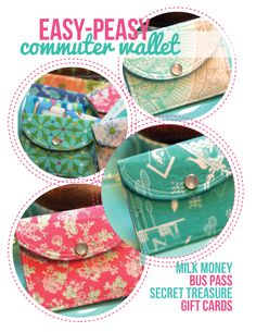 PERFECT FOR GIFT CARDS!  Sew some of these up in holiday fabrics?  Commuter wallet - coin purse sewing tutorial by elegantitus