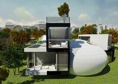 Cocoon House by Planning Korea, Futuristic Home, Jeju Island, South Korea
