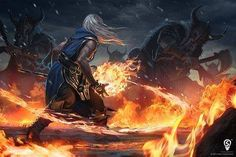 This is why you kill the mages first. Collection: The Warrior and the Mage by techgnotic on DeviantArt High Fantasy, Medieval Fantasy, Fantasy World, Dnd Characters, Fantasy Characters, Character Inspiration, Character Art, Dnd Art, Fantasy Warrior