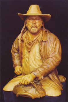 """wood sculpture- """"Outrider"""" by Ron Pearce.  Dimensions are approximately 37"""" high x 28"""" wide x 29"""" deep.  Fantastic piece!"""