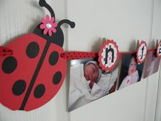 Ladybug Birthday Party First Year Photo Clothespin Banner in Black Red and PINK. $20.00, via Etsy.