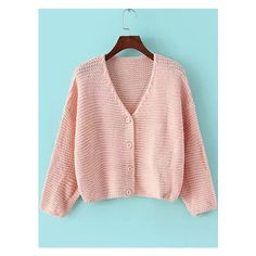Romwe V Neck Button-Down Crop Pink Cardigan ( 21) ❤ liked on Polyvore ee0506efa72