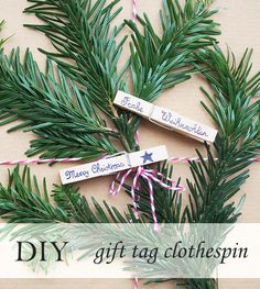 #DIY, #craft: Make these cute #gift tags for #Christmas with clothespins in five minutes (#upcycling tutorial in English and German)