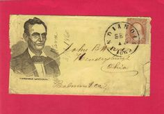 Cover/envelope for Abraham Lincoln Presidential Campaign with cancelled stamp of September 1860, Indianola, Iowa.  *s*