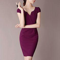 LIFVER Women's V Neck Short Sleeves Fitted Dress - USD $ 45.99