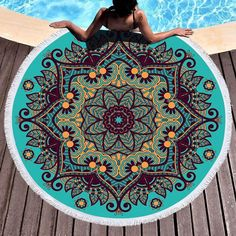 Mandala Geometric Round Beach Towel Tassels Bohemia Microfiber Bath Shower Towel For Adults Picnic Yoga Mat Blanket Cover Up Tapestry Bedding, Boho Tapestry, Wall Tapestry, Shower Towel, Bath Shower, Beach Towel, Beach Mat, Picnic Mat, Wrightsville Beach